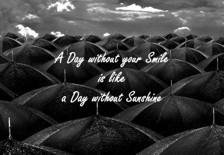 Lost days - smile, rain, black and white, umbrella
