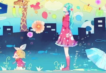 World in watercolours - clothes, hatsune miku, playful, socks, umbrella, watercolour, vocaloid2, clouds, panda, flowers, girls, kagamine len, giraffe, twins, blue, vocaloid, underwater, kagamine rin, usamimi, ribbon, elephant, cute, boy, blue hair, balloons