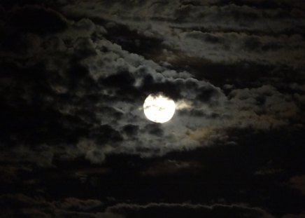 Cloudy Moon - blue moon, clouds, sky, moon, neil armstrong