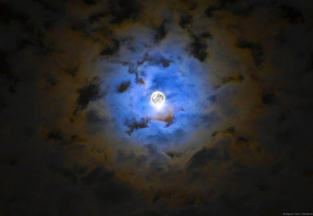 BRIGHT FULL MOON - moon, night, clouds, sky