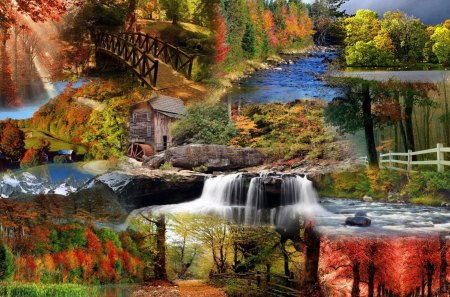 Autumn Glory - fall, leaves, watermill, bridge, waterfall, path, trees, lake, nature