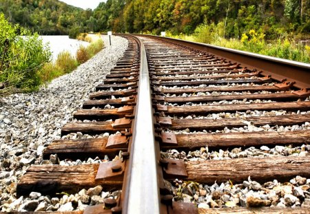 Railroad - railroad, grass, railway, closer, path, forest, road, nice, summer, nature, trees, beautiful, lovely, train, stones, green, bushes