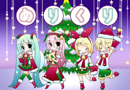 Christmas Time! - vocaloid, christmas tree, kagamine rin, hatsune miku, video games, hatsune miku project diva, chibi, megurine luka, project diva, santa, kagamine len, other, gifts, star