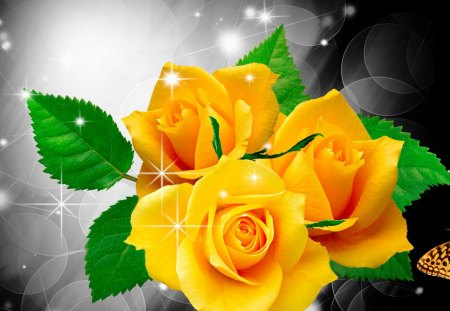 Shine on Yellow Roses - fleurs, glow, twinkle, lustre, shine, yellow, flash, winkle, lights, sparkle, glint, gold, butterfly, scintillate, shimmer, papillon, flowers, glisten, radiate, flare, glitter, spangle, spring, glister, roses, glimmer, summer, luster, wink, gleam, shiny