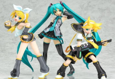 Rin,Len & Miku - vocaloid, len, kagamine rin, aqua blue, hatsune miku, figrues, video games, piano, project diva, microphone, rin, collectables, kagamine len, other
