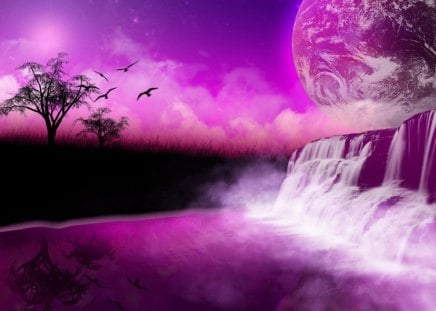 FANTASIA FALLS - waterfalls, birds, sky, trees, universe, purple, planets, silouettes, horizons, clouds, earth, mist, shadows