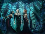 gothic girls in a blue forest