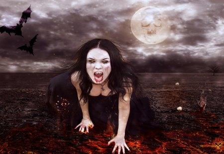 DEMON GIRL - fire, bat, dalissa, demon, gothic, trash, slayer, girl, moon, vampire, female, evil