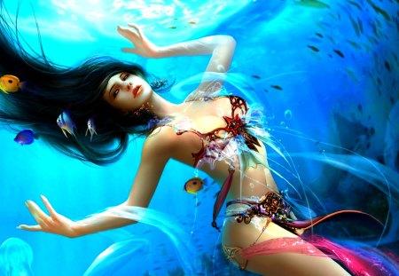 MARINE GODDESS - fantasy, gbrush, underwater, mermaid, fish, sea, dehong he