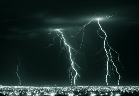 Lightning in Black and White - lightning, dark, black, storm clouds, nature, white, sky, bolts