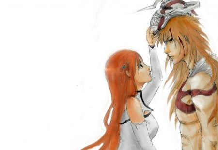 Orihime & Ichigo - bleach, vasto lorde, inoue orihime, ichigo, white background, ichigo kurosaki, kurosaki ichigo, duo, anime, mask, long hair, orihime