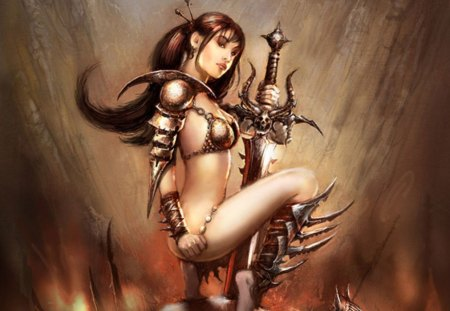 Conney the Barbarian - long hair, sword, warrior, fantasy, blade, brown background, girl, female, weapon, armour, brown hair