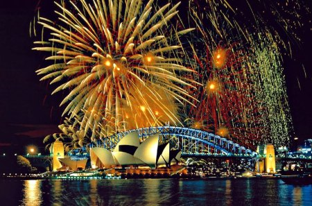 Sydney Harbor Australia at New Years Eve Night - abstract, art, digital, beautiful