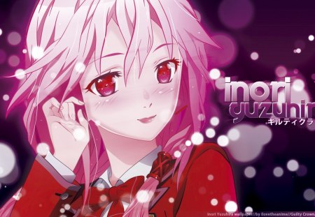 inori - pink eyes, guilty crown, egoist, anime, inori yuzuriha, anime girl, pink hair, vocalist