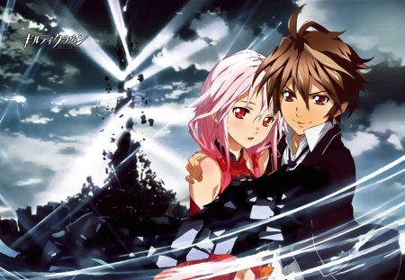 The King's Destiny - pink eyes, guilty crown, brown hair, anime boy, lost christmas, void gennom, anime, grey destruction scene, kings power, anime girl, pink hair, red eyes