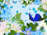 Flowers and Butterflies Blue