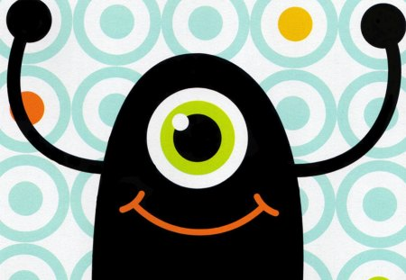 One Eyed Monster - monster, one eye, smile, cute, ghost, happy