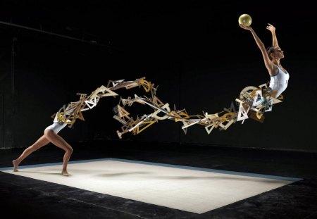 gymnast - triangles, woman, ball, pencil