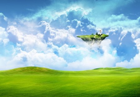 Floating Island - floating, green, cloud, island