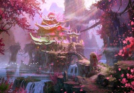 Island of Peach Blossoms - peach, blossoms, landscape, oriental