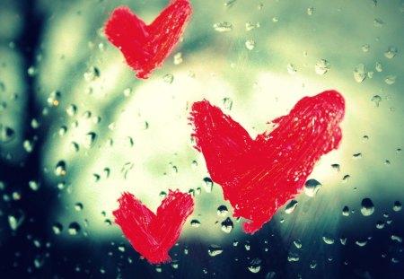Window hearts - valentine, window, heart, red, love