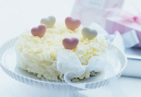 With love - heart, tenderness, love, ribbon, sweets, petals, tasty, cake