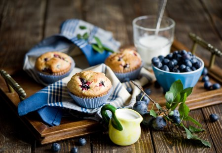 BREAKFAST in Delicious Blue♥ - muffins, delicious, napkins, food, utensils, breakfast, still life, berry, blueberry, tray, blue