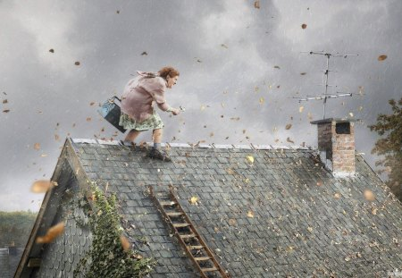 Stormy day - leaf, antenna, storm, house, autumn, wind, cloud, funny, roof, old woman