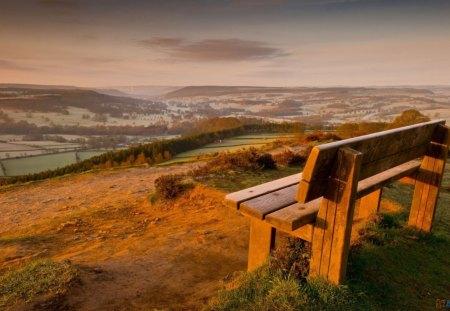 A  View for Carmen - grass, fields, sky, bench, landscape, view