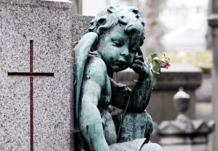 Always by your side... - guardian angel, angel, love, forever, flowers, cross, sculpture