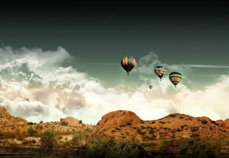 Air Balloons in the Desert Sky - colorful, deserts, air, balloons, nature, sky