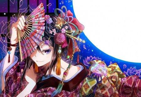 Kimono Girl - japanese, kimono, girl, oriental, fan, orginal, moon, night
