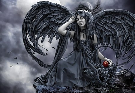 Dark Angel - wings, apple, woman, black wings, female, dark, evil, angel