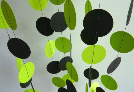 Bright Lime Green and Black Garland - birthday, bright lime green and black garland, bridal shower, chartruese, decoration, paper garland