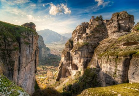 Meteora - High Up Above (Greece) - greece, meteora, view, high, above, sky, up, nice, blue