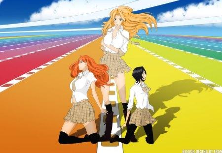scandal - rangiku, bleach, orihime, anime, rukia