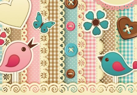 Birds and Buttons - fabric, birds, pink, plaid, turquoise, fleurs, sew, brown, lace, flowers, butterfly, tan, buttons, papillon, sewing, butterflies, aqua, gingham, seamstress, pastel, quilt, quilting