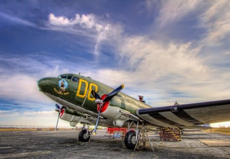 DC3 dakota the greatest plane ever made hdr - hdr, clouds, plane, old, airfield