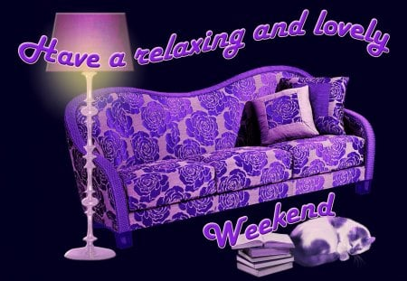 ♥      Relaxing Weekend To All Of You      ♥ - weekend, couch, cat, books, purple, weekend wishes, relaxing weekend, lamp, wishes