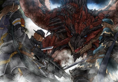 Monster Hunter Rathalos - game, rathalos, dragon, wyvern, girl, anime, monster, sword, hunter, psp