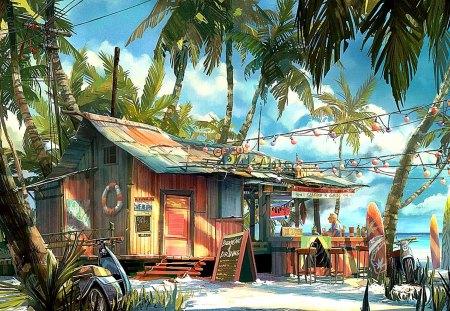 Bar at the beach - palm trees, bar, beach, nature