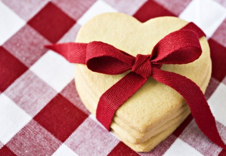 Cookies - food, heart, cookies, ribbon