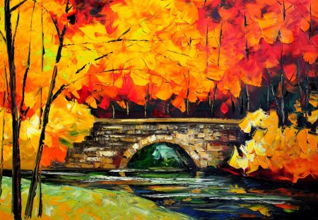 Autumn Painting - river, bridge, artwork, nature, trees, leaves