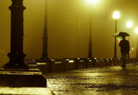 Walking Alone in a Rainy Night - walk, alone, rainy, night, lamp