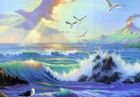 Ocean - digital, ocean, birds, art, abstract