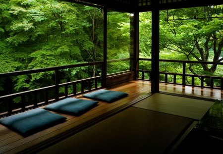 Unbelievable view - forest, pillow, view, trees, unbelievable, green, awesome, asian, nature, chinese