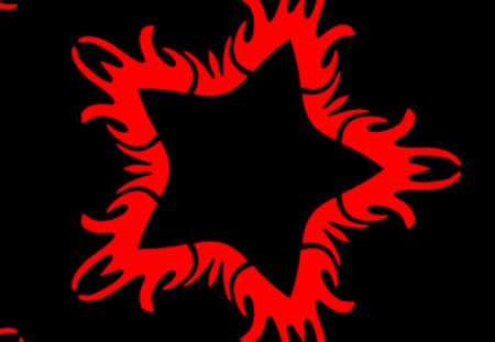 red flammy star - labrano, flammy, abstract, star, gizzzi, flame, black, red