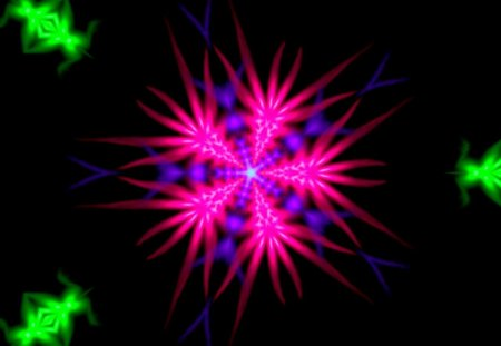 my fractal sun - labrano, pink, sun, purple, caleidoscope, green, gizzzi, black, fractal, sunny
