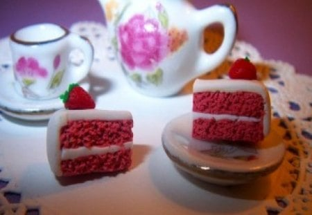 Tiny Miniature Tea and Strawberry Shortcake - small, cake, little, tea, sweet, cute, mini, strawberry, teapot
