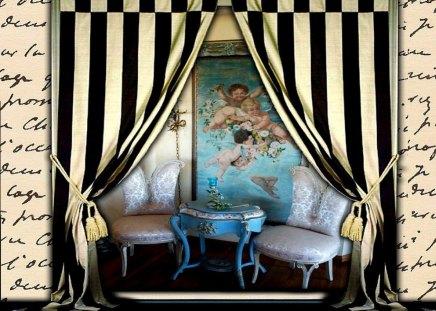 Romantic Vignette - curtain, letter, painting, past, collage, cherub, romance, setting, antique, love